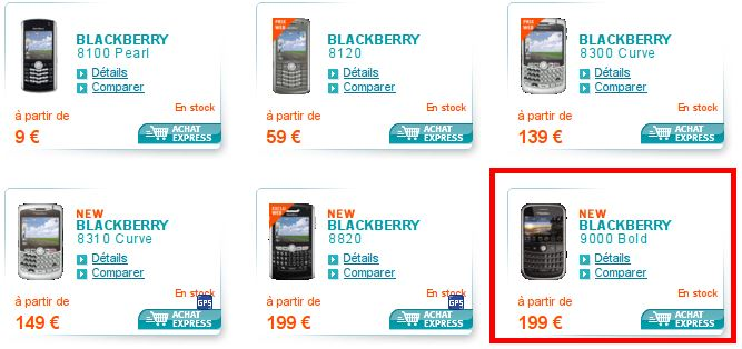 blackberry bold 9000 bouygues telecom