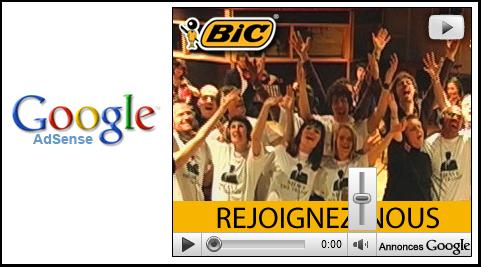 Vidéo Youtube dans une Publicité Adsense