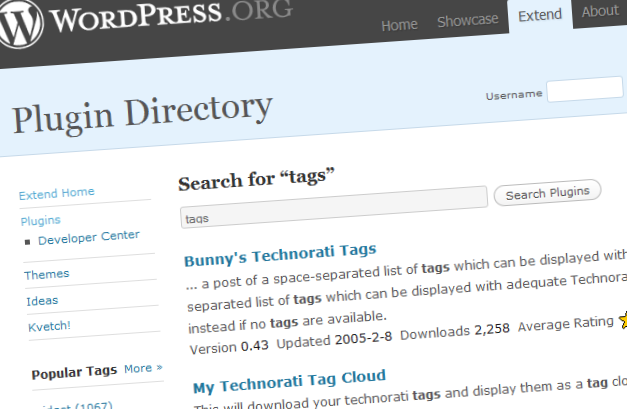 Wordpress plugin tags