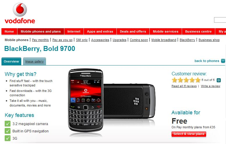 Blackberry Bold 9700 available for free
