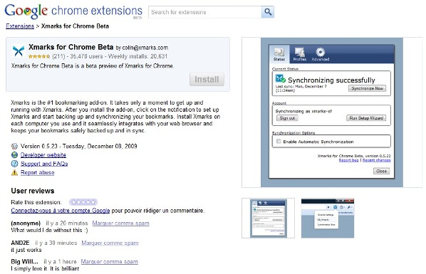 Google Chrome Extension Page Xmarks