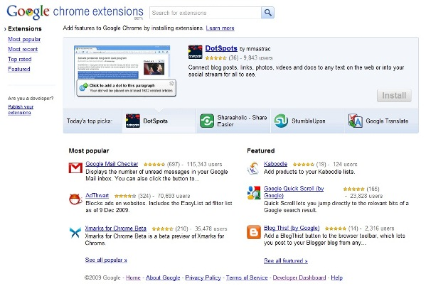 Google Chrome Extensions Website Home