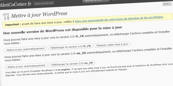 Wordpress_29_mise_a_jour
