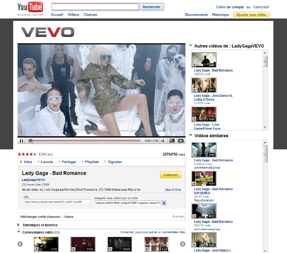 Youtube Vevo Bad Romance