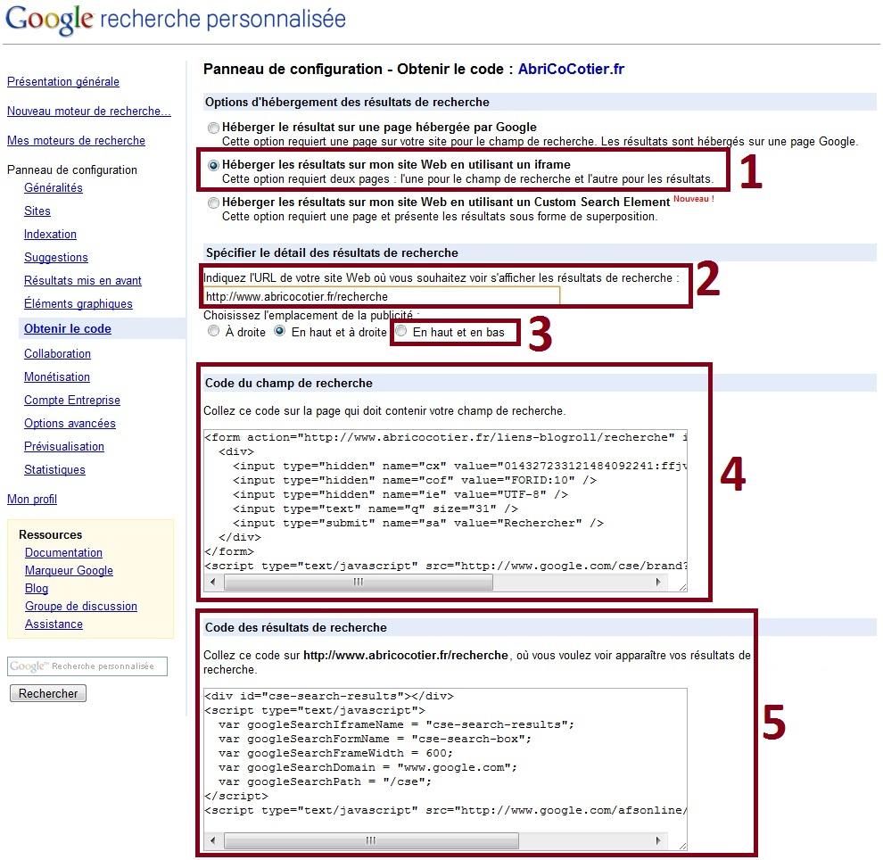 Google Custom Search Engine Tutoriel