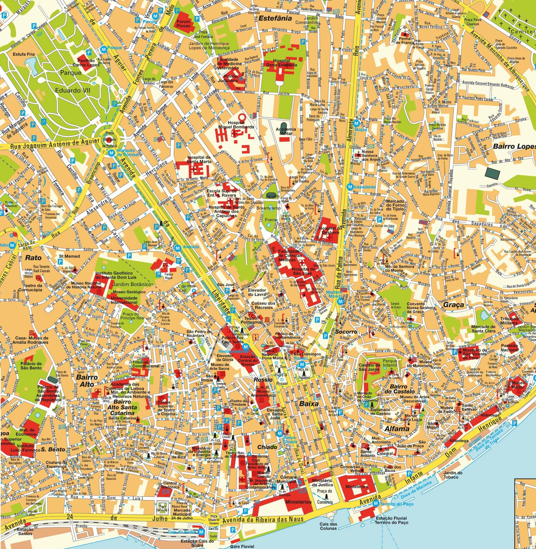 Carte de lisbonne plan touristique week end lisbonne for Carte touristique