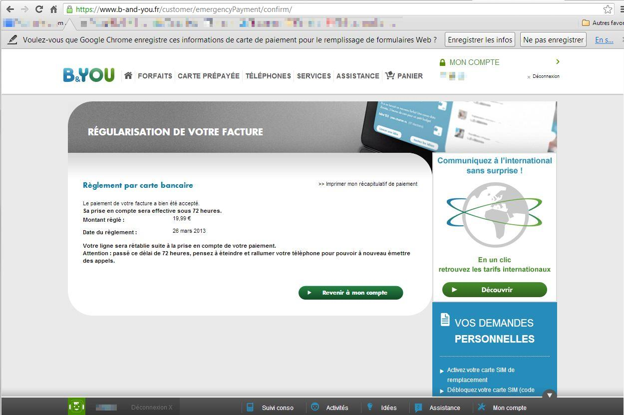 Chrome Enregistrement donnees bancaires