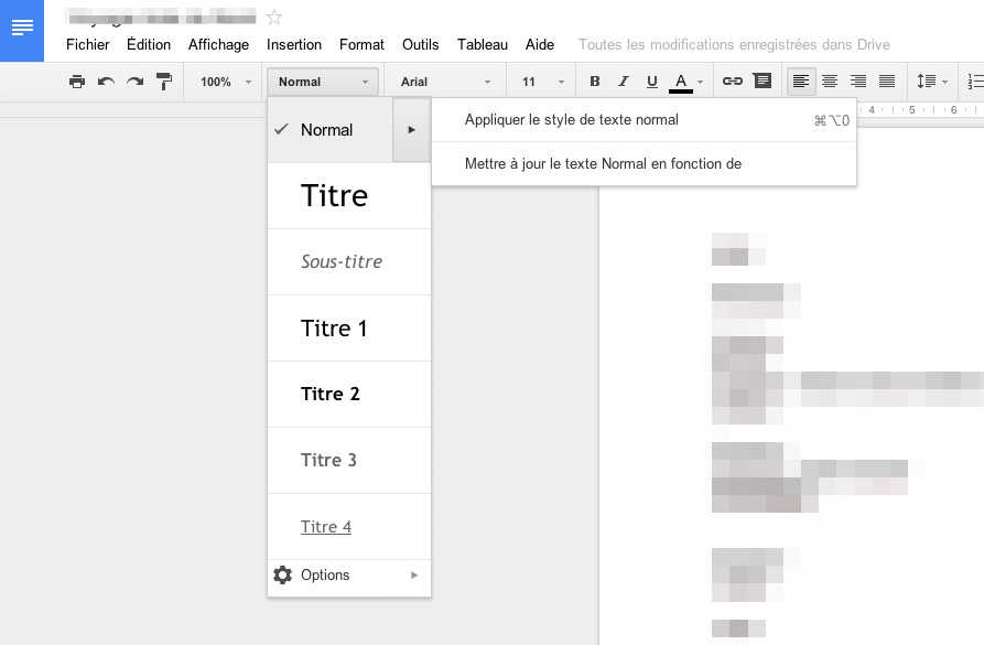 google docs nouvelle version