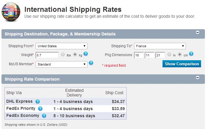 myus shipping rates