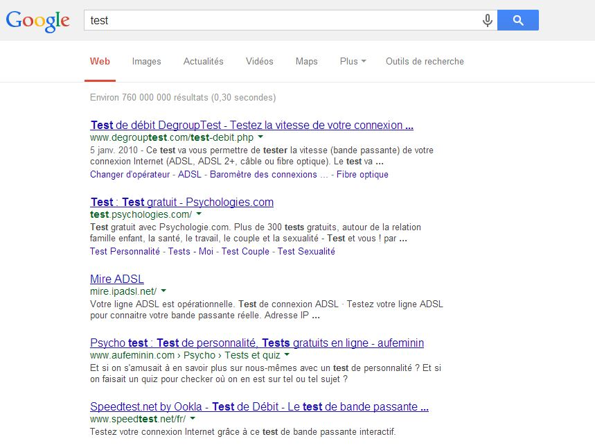 version actuelle recherche google