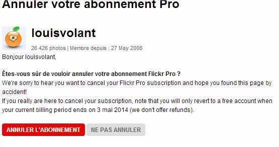 Annuler abonnement PRO Flickr