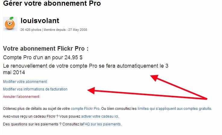 Flickr Gérer votre abonnement Pro