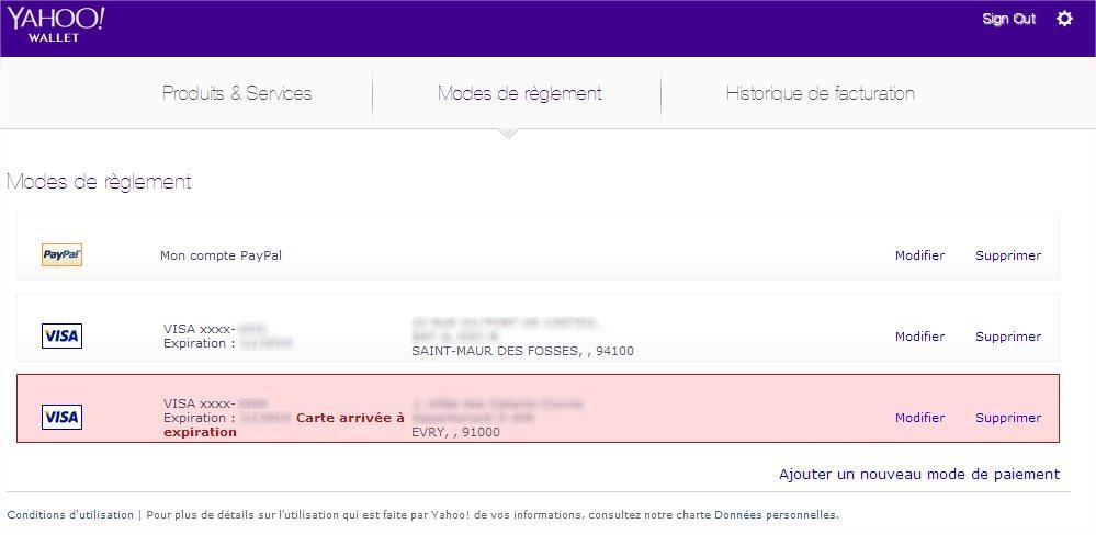 Modes de reglement Yahoo Wallet