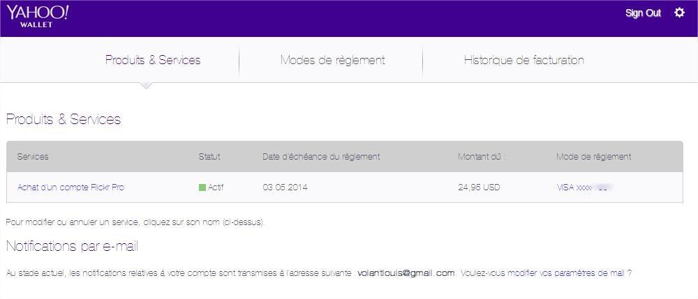 Modifier vos données de facturatiion Flickr Yahoo Wallet