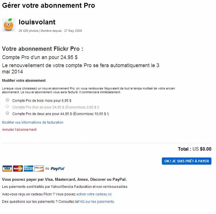 Modifier votre abonnement Flickr