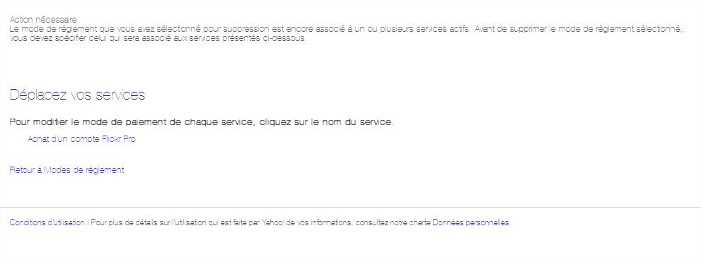 Suppression dun mode de reglement Yahoo WAllet