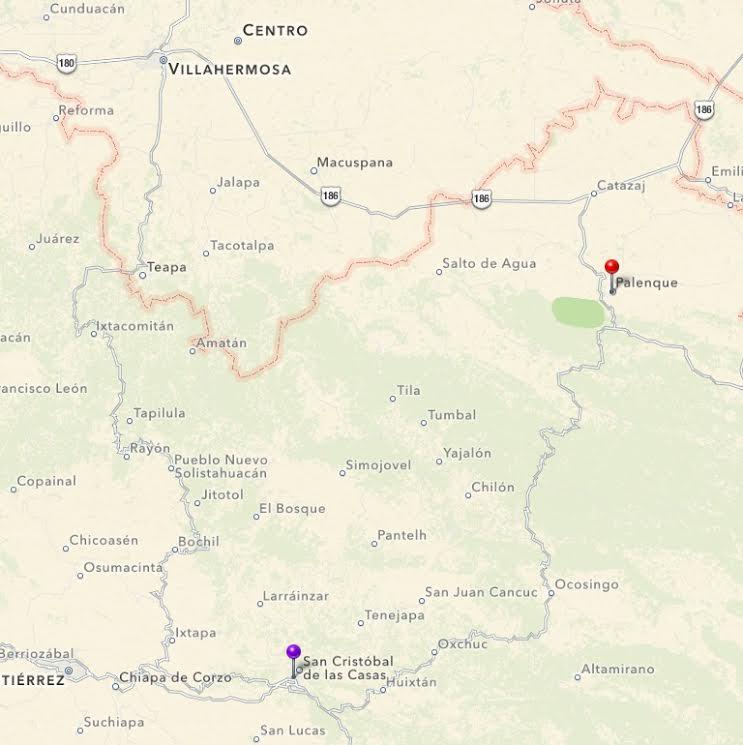 route palenque ocosingo villahermosa