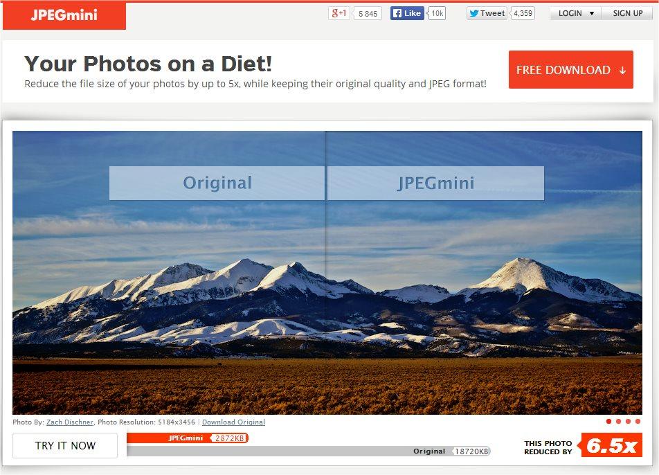 JPEGmini Homepage
