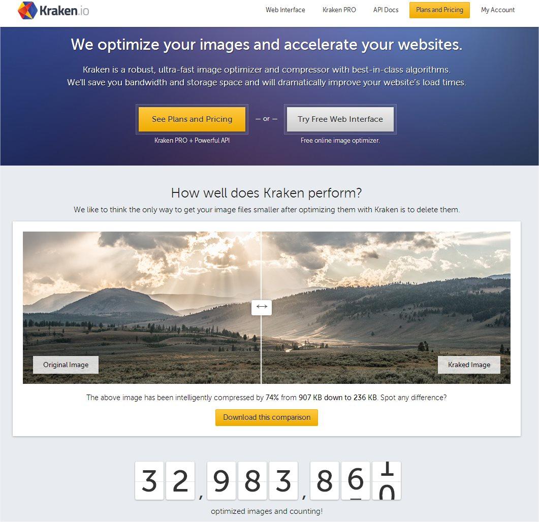 Kraken.io Homepage