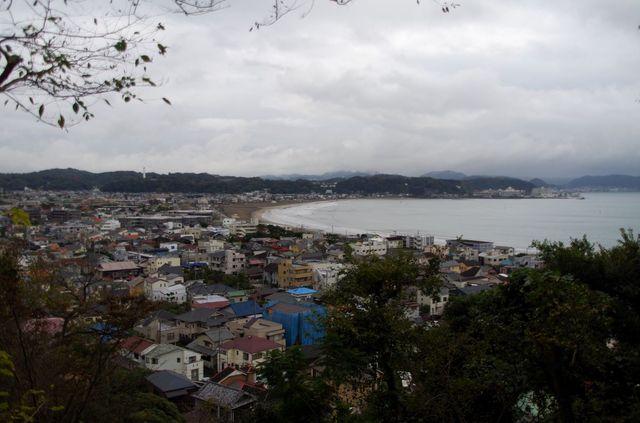 Japon - Kamakura temple Hase Dera Vue sur la plage