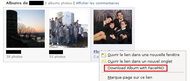 Télécharger les photos Facebook