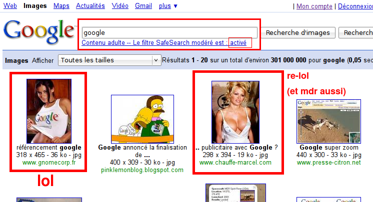 Google Safesearch recherche Google