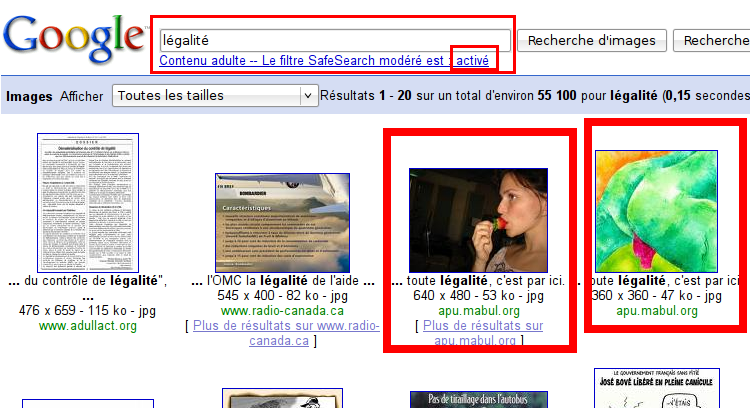 Google Safesearch recherche Legalite