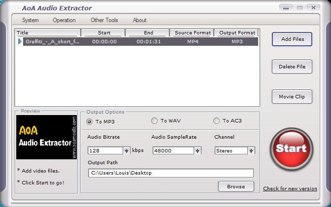 AoA Audio Extractor : comment prendre le mp3 dans un mp4