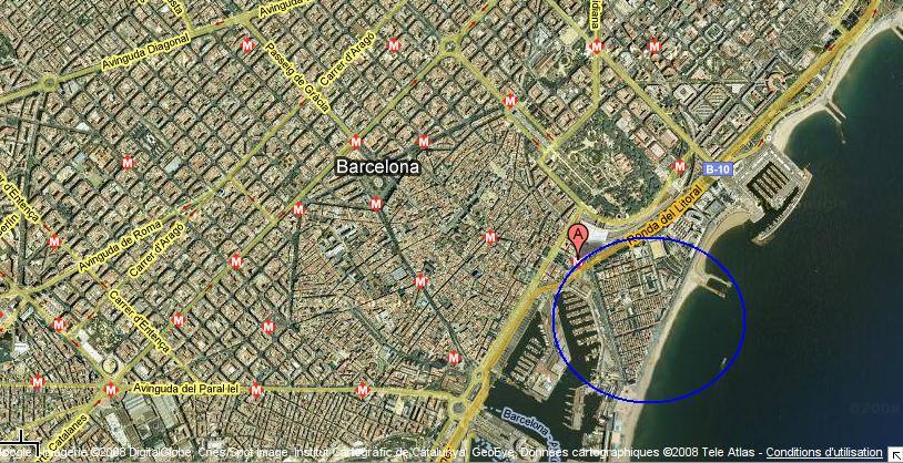 Carte de Localisation du quartier de Barcelone : La Barceloneta