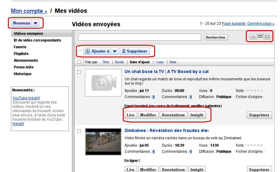 Changement interface utilisateur Youtube