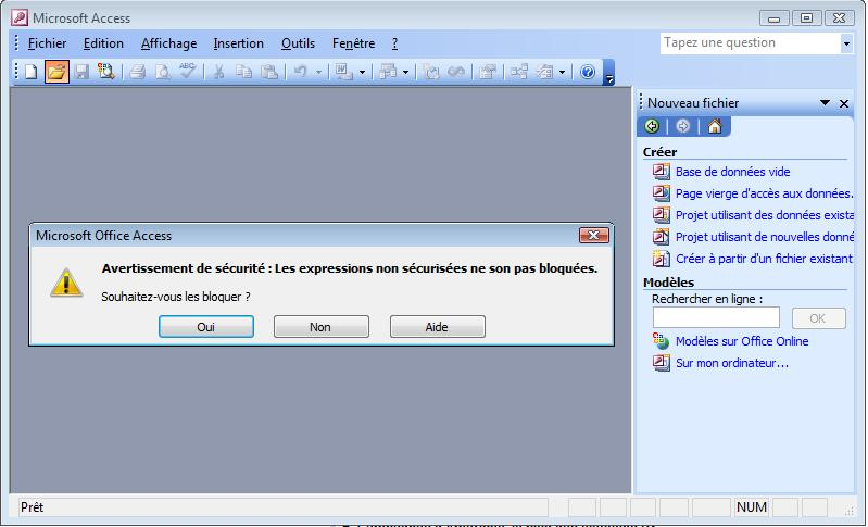 Faute d'orthographe dans Microsoft Office Access