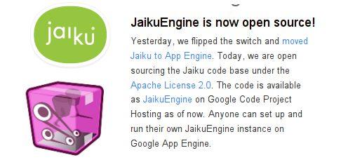 Jaiku est maintenant Open-Source