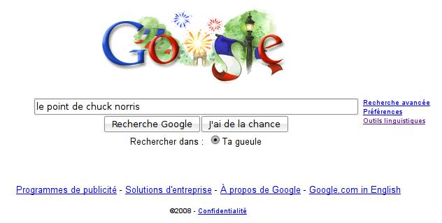 Google est complice de Chuck Norris