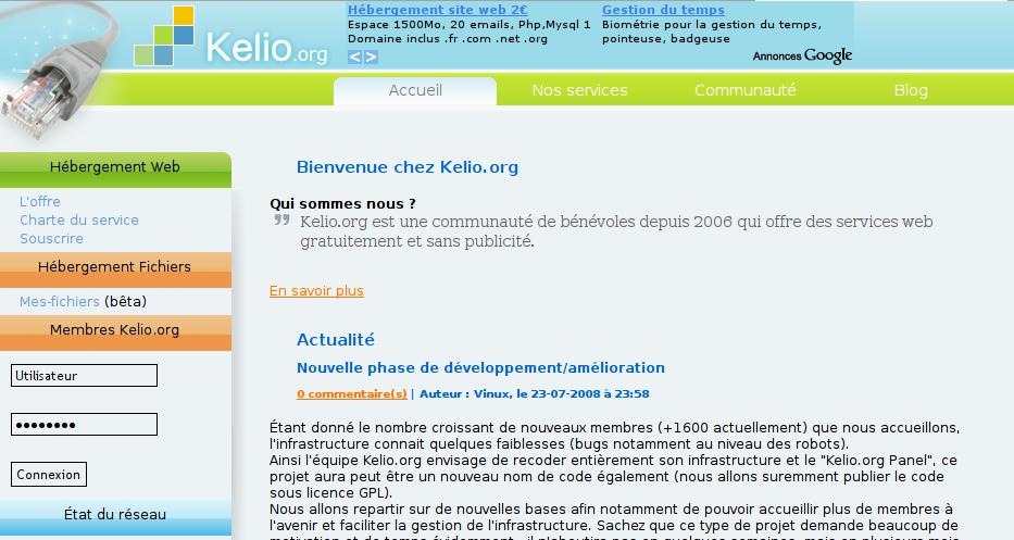 Kelio.org Hebergement Gratuit