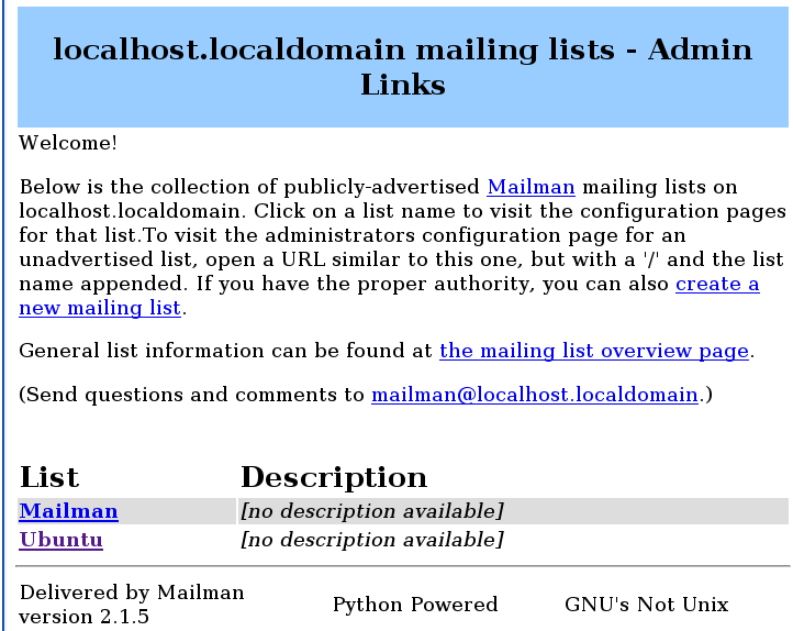 Mailman projet GNU GPL de mailing lists
