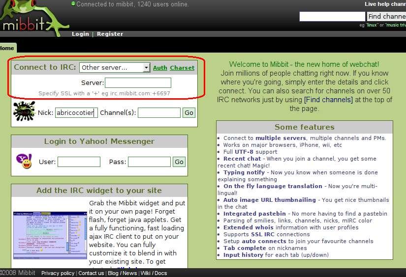 Mibbit IRC Webware