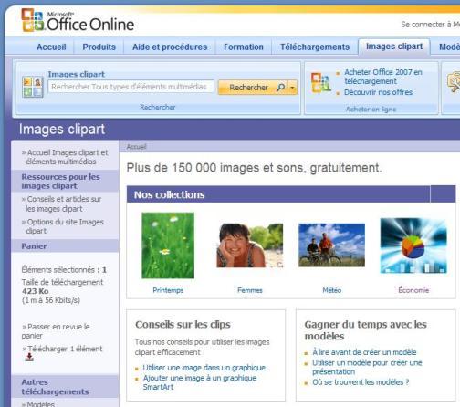 Office Online de Microsoft avec téléchargement dimages Clipart