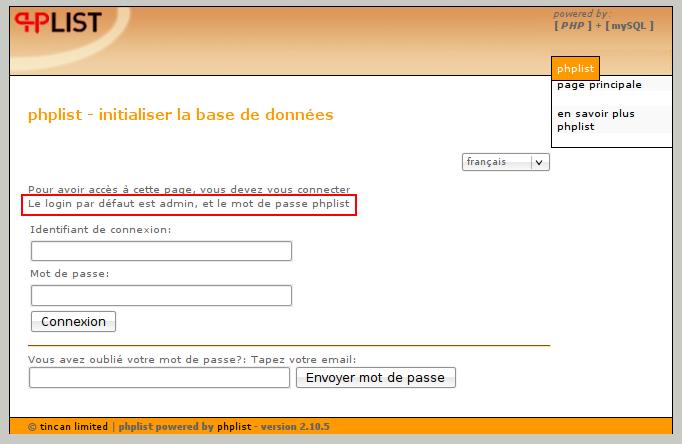 PHPList Installation en Francais