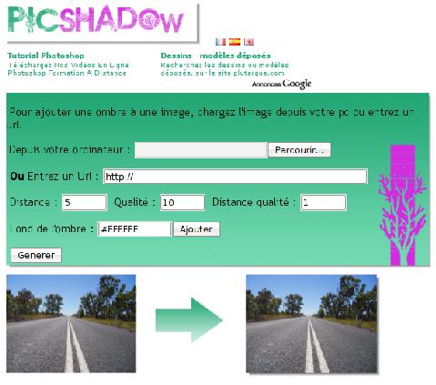 PicShadow screenshot - Ajouter une ombre à vos photos