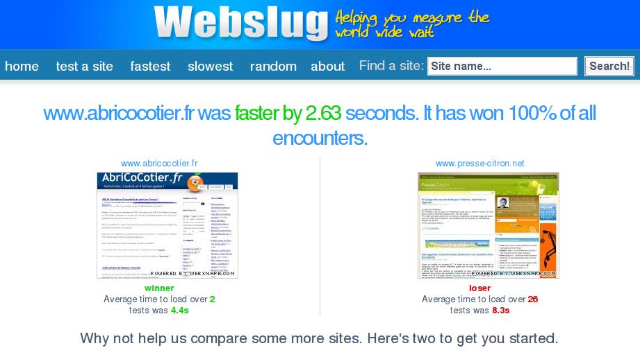 Webslug, comparateur de vitesse de téléchargement d'un site